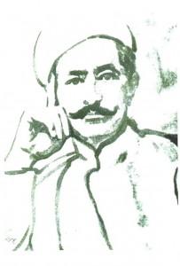 طرحی از چهرهی عارف قزوینی.